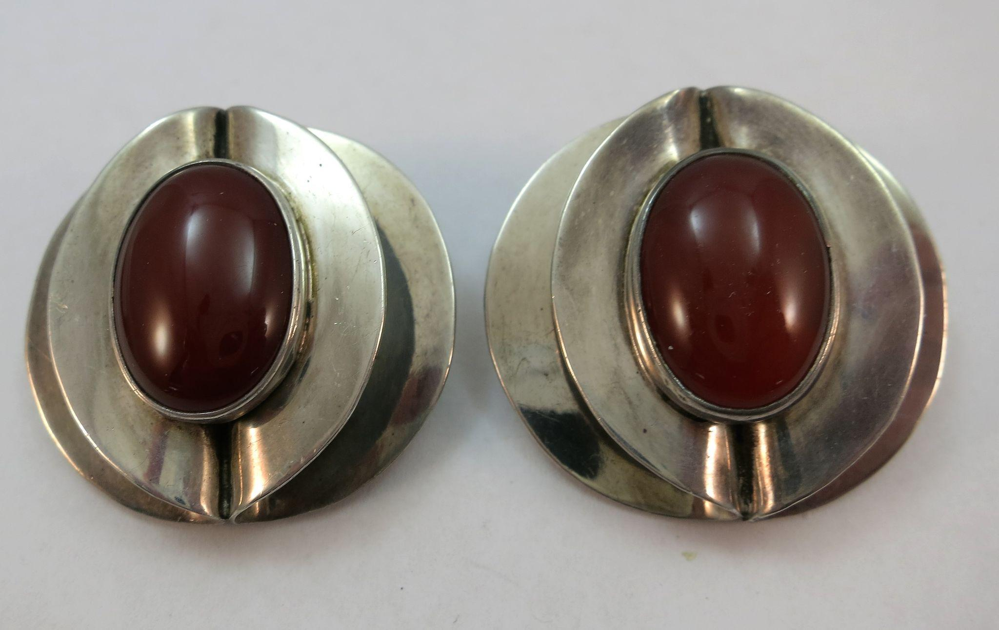 VINTAGE Mexican Silver Double Circles Carnelian Clip Earrings 1 1/4 Large
