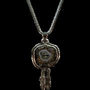 VINTAGE Sterling Drusey Mineral Gem Sterling Pendant 20 inch snake chain