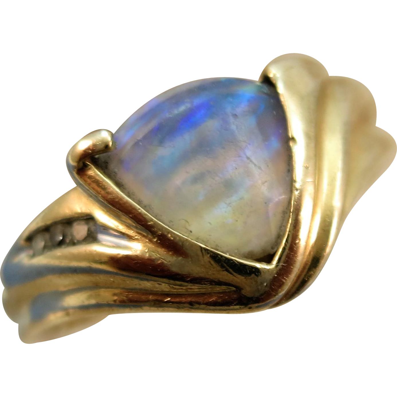 VINTAGE Faceted Opal  With Diamonds  Ring  Size 9 1/2