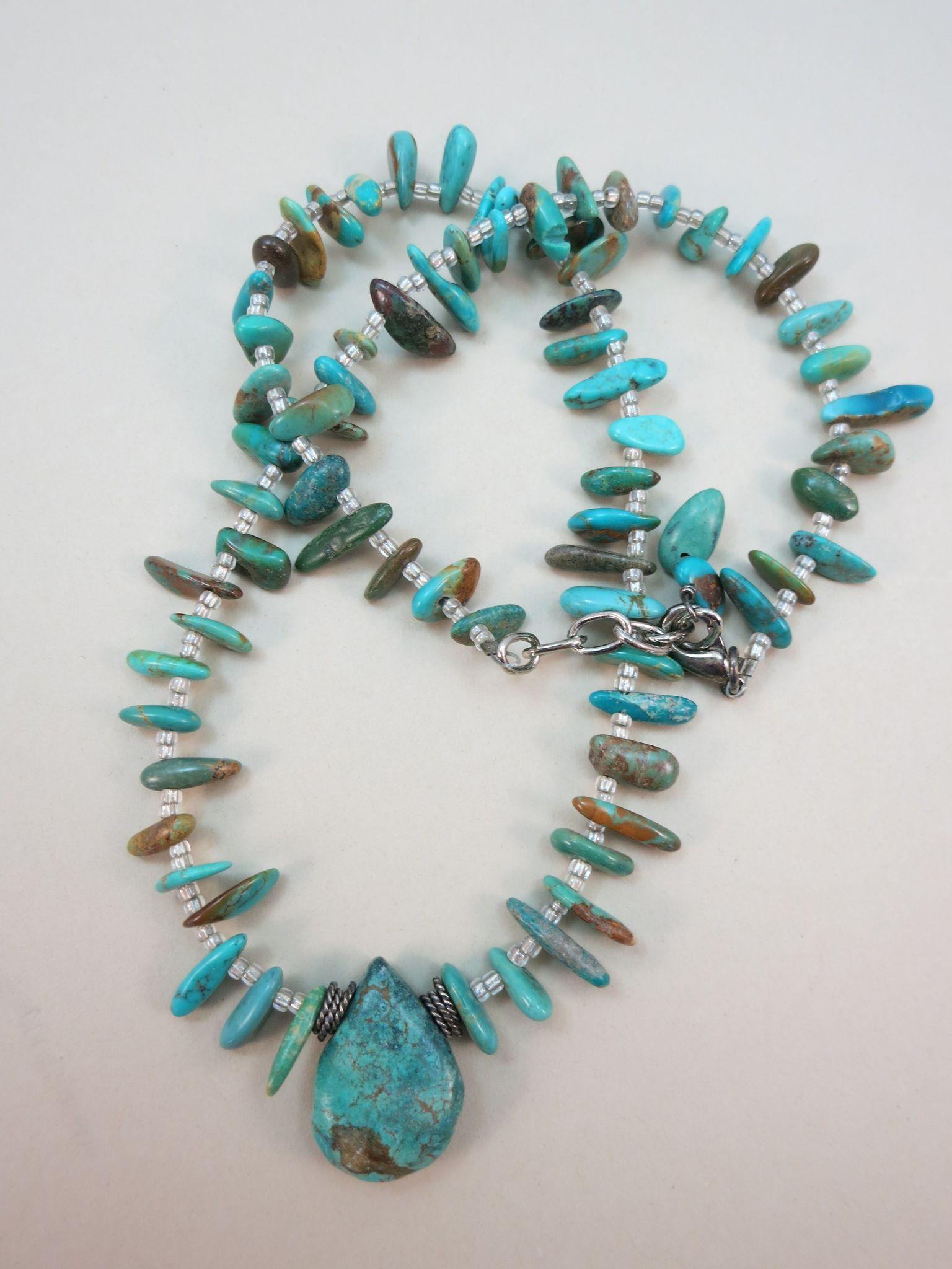 VINTAGE Turquoise Indian Style 17 Inch Necklace