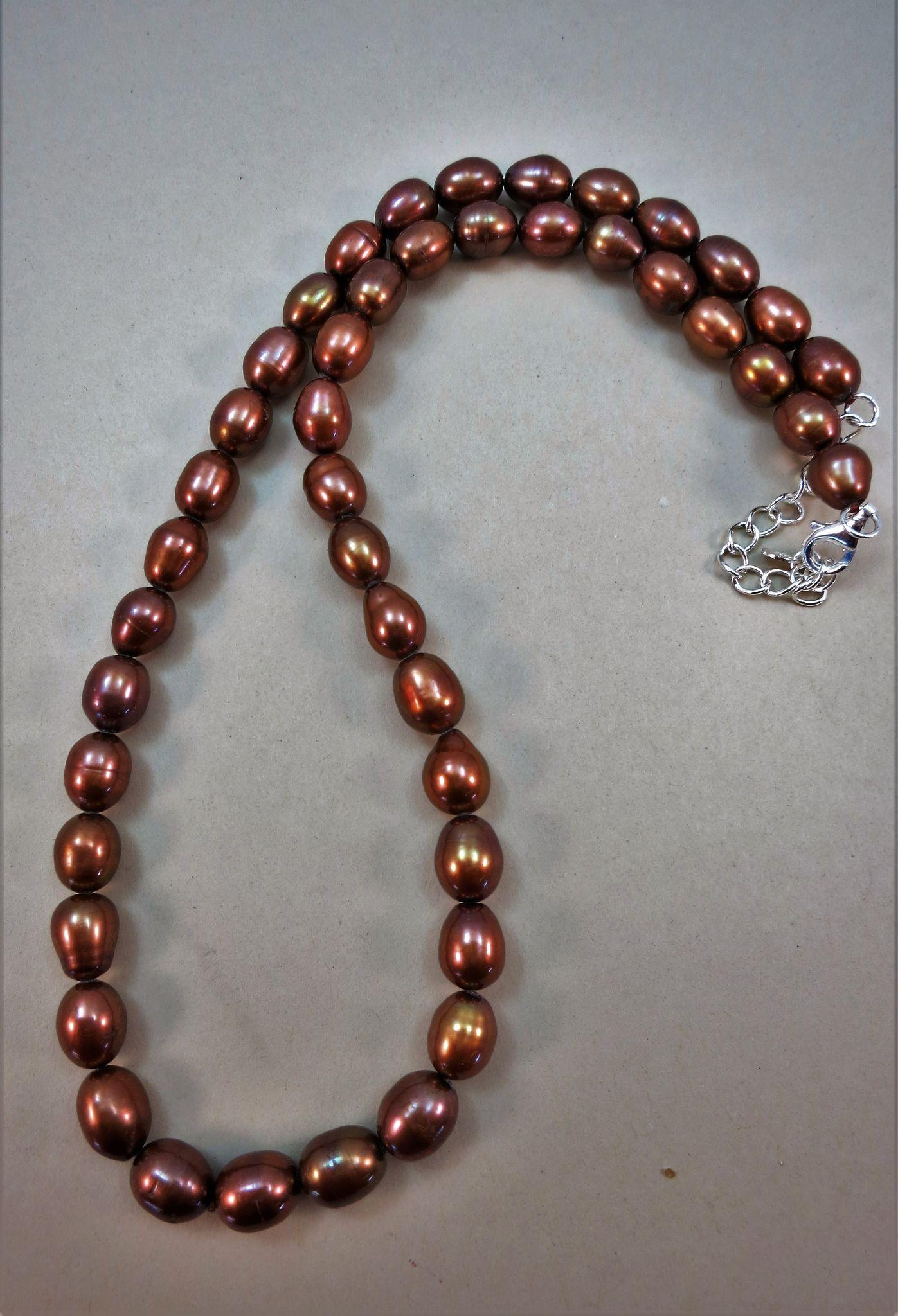 VINTAGE Bronze Fresh-Water Pearl Necklace  18 Inch 2 Inch Extender Chain