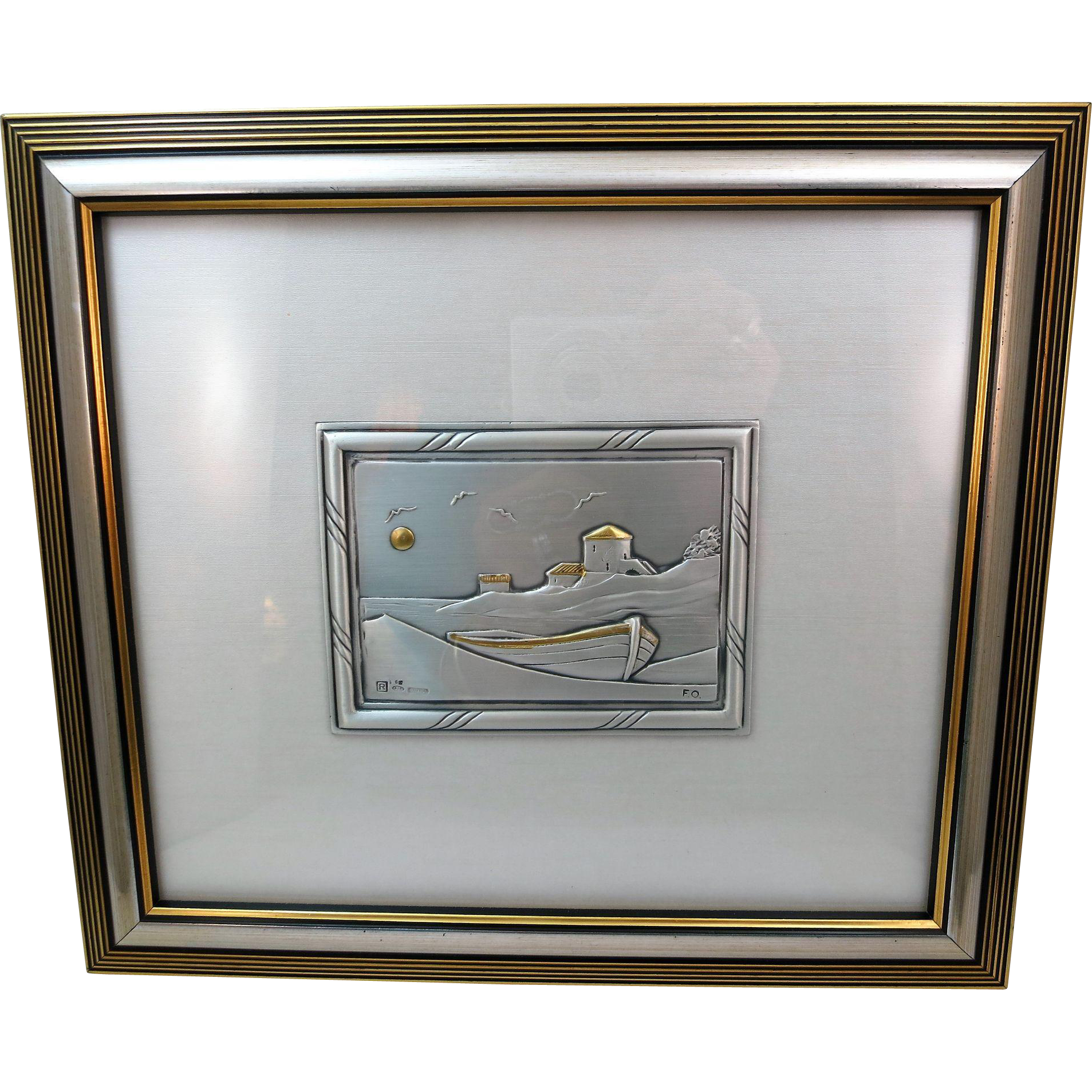 VINTAGE Italian Sterling Silver Art Work In Relief, Boat, Birds and Buildings Water 10 1/4 X 9 Inches