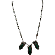 VINTAGE Mexican Silver Three Stone Malachite Necklace with Hand made chain.