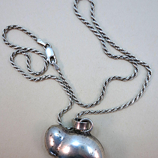VINTAGE Sterling Fat Bear On 16 Inch Sterling Chain