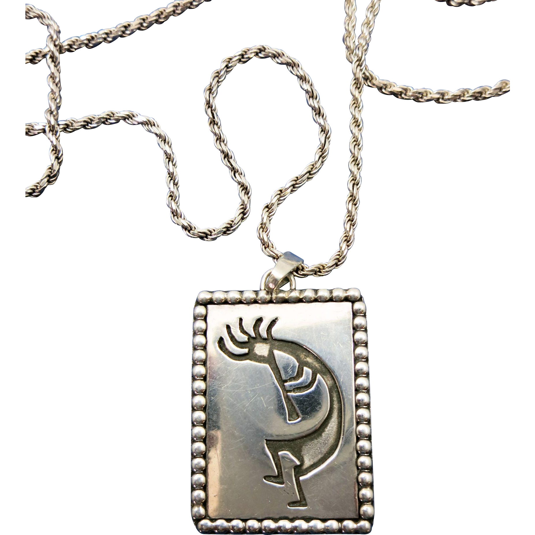 VINTAGE Large Design Kokopelli  Medal and 24 Inch Chain Heavy Rope Chain