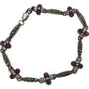 VINTAGE Sterling and Marcasite Bracelet  7 Inches
