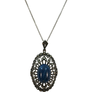 VINTAGE  Sterling Lapis and Marcasite Pendant