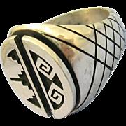 VINTAGE Hopi Sterling Ring Maker Art Batala  Tribal Designs  Size 9