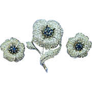 VINTAGE  Panetta Signed Pave' Flower Brooch and Clip Earrings