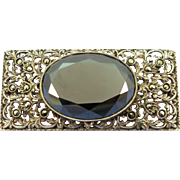 VINTAGE  Sterling Hematite Brooch with Marcasites  Beautiful