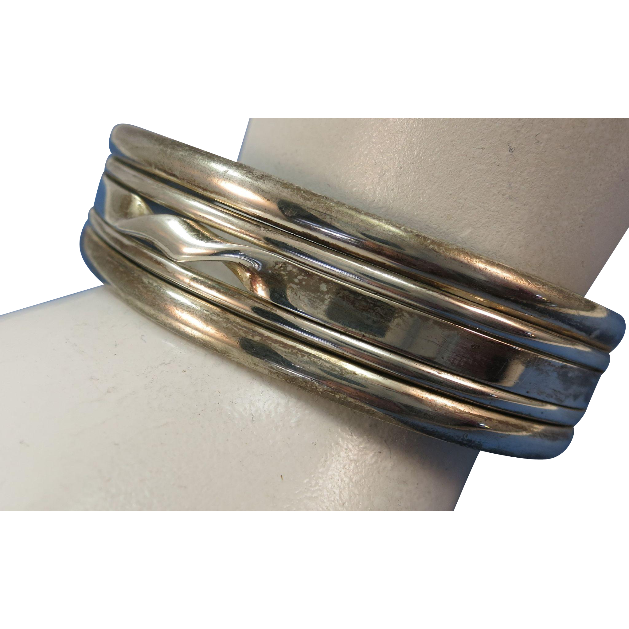 VINTAGE Mexican Silver Twist Bracelet  Sterling  925