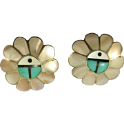 VINTAGE Clip Sterling Mother of Pearl Sun Face Earrings