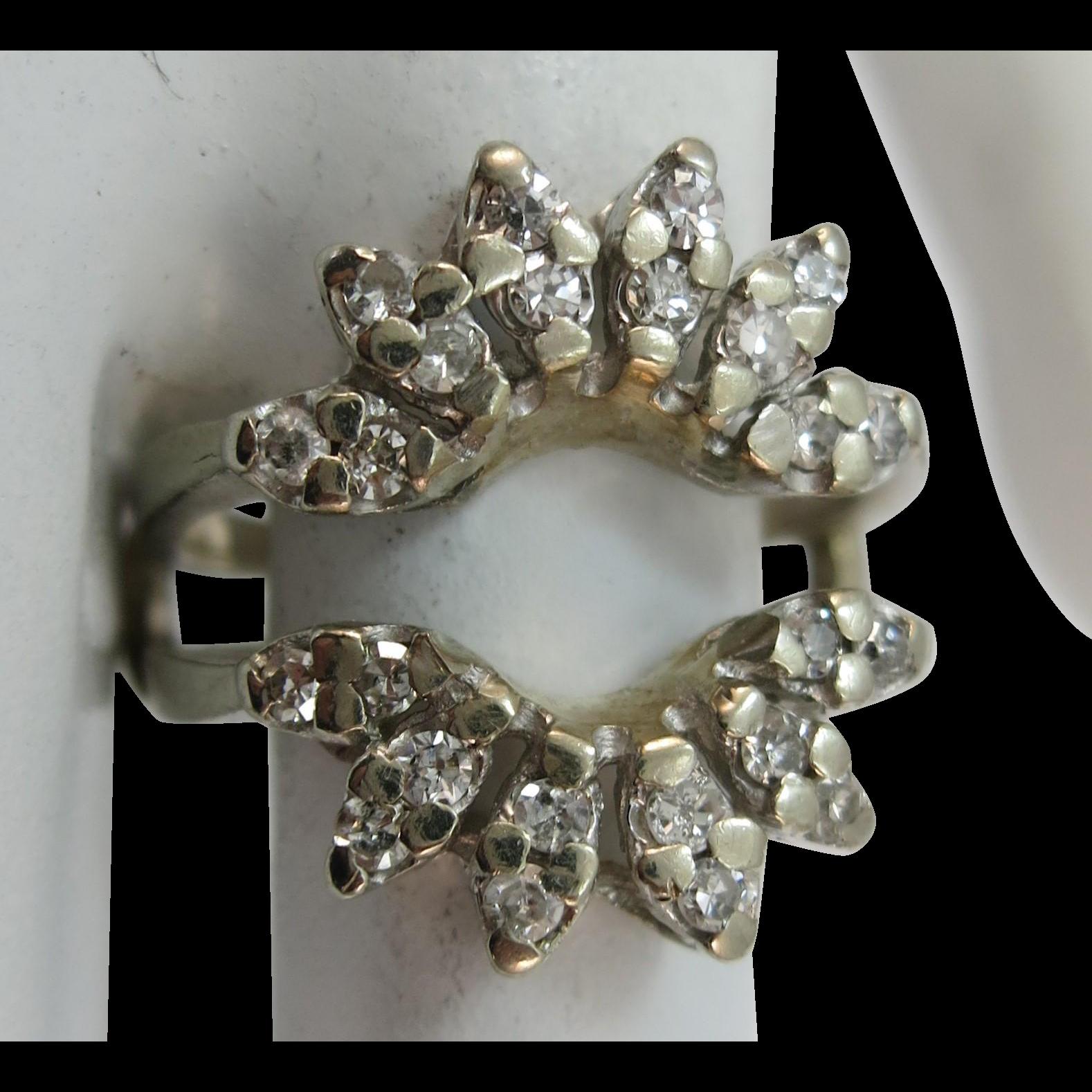VINTAGE 24 Diamond Solitaire Enhancer  Flashy  Size 6 1/2