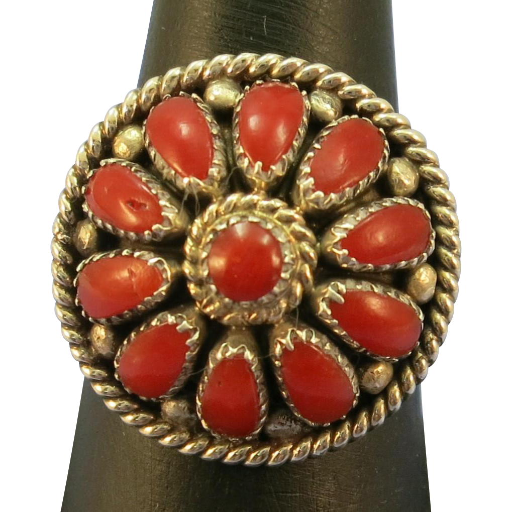 VINTAGE Coral and Sterling Ring  Size little pass 8