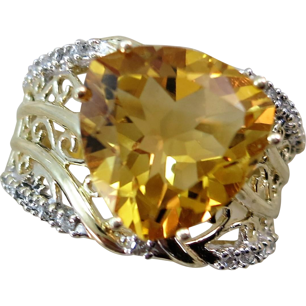 Large Citrine and Diamond Ring 10K  Size 8 1/4  Flashy