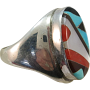 VINTAGE Zuni Mans Ring Stone Inlay  set Turquoise Mother of Pearl Onyx and Coral Size 11