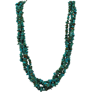 VINTAGE Four  Strand Turquoise Necklace 21 Inches long