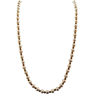 VINTAGE 14k Yellow Gold Beads with small Fresh water Pearls  17 inch length