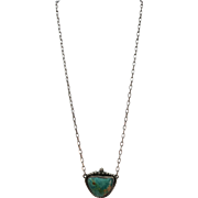 VINTAGE Turquoise Pendant with 20 Inch Chain