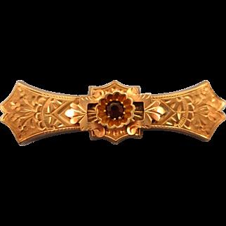 VINTAGE Victorian Bar Brooch Garnet Set