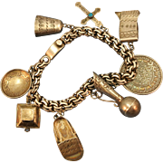 VINTAGE Mexican Silver Charm Bracelet with Heavy Curb Chain