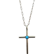 VINTAGE Sterling Cross with Turquoise Bead+ Lovely chain