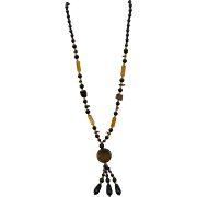 VINTAGE Black and Yellow Long Flapper Necklace with Tassels  38 Inches Long