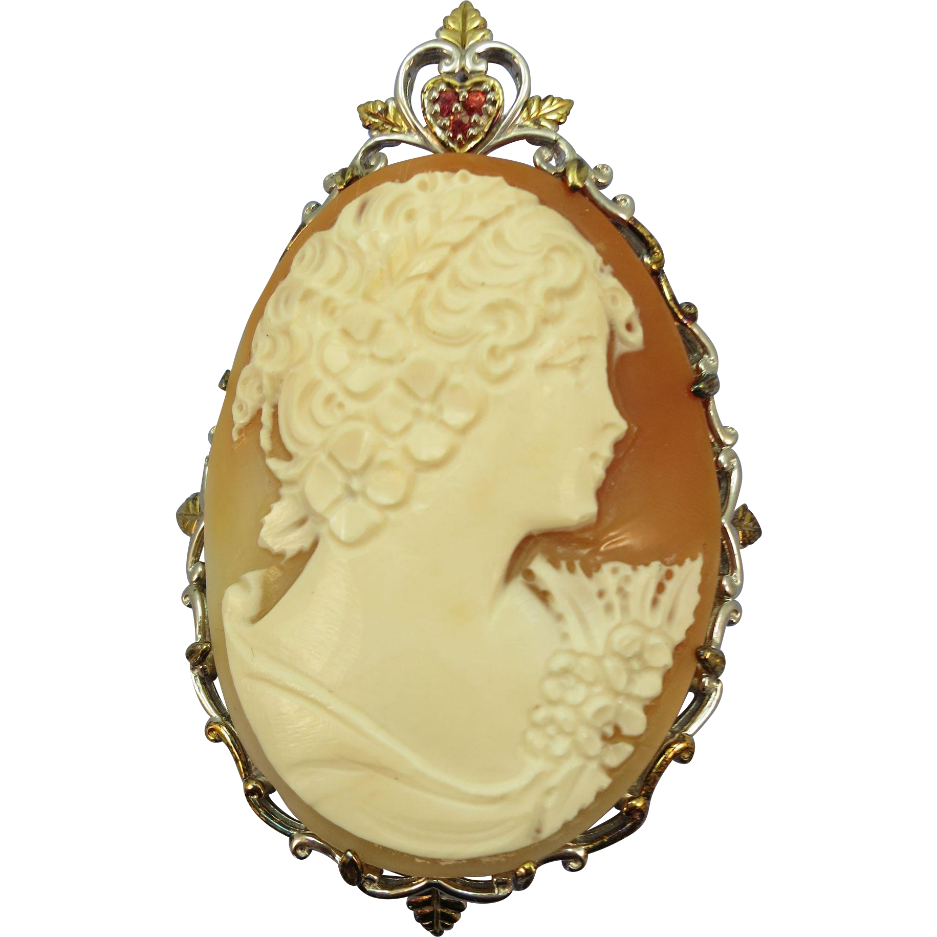 VINTAGE Sterling Framed Hand-Carved Shell Cameo Enhancer for Pearls or etc