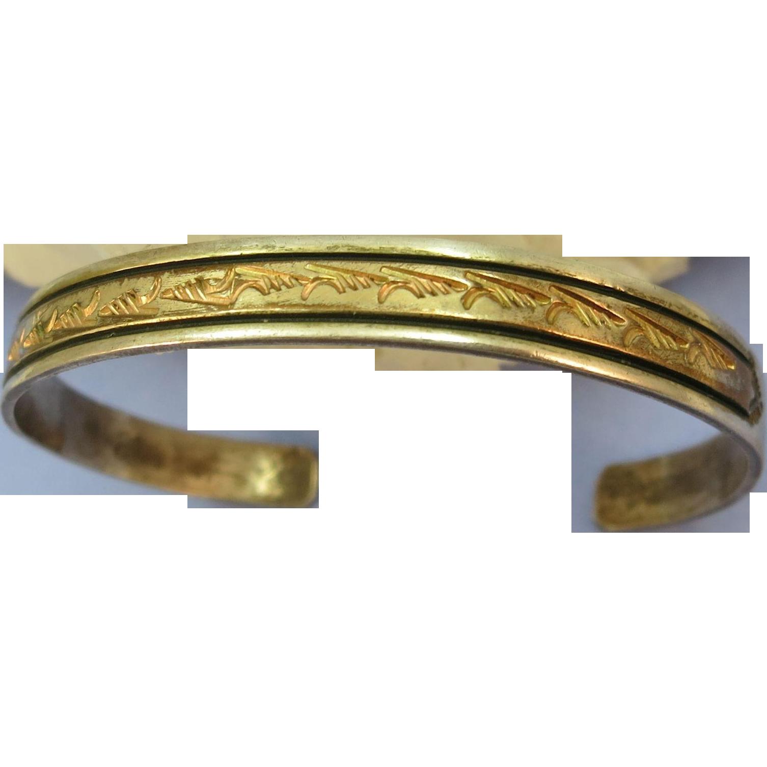 VINTAGE Sterling Bracelet with Gold Filled Trim.