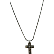 VINTAGE  Sterling Woven Chain with Reversible Cross 19 Inch Chain