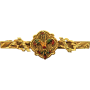 VINTAGE Victorian Gold-Filled with Enameling Bar Brooch
