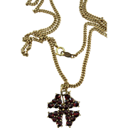 VINTAGE  A Four Leaf Clover Bohemian Garnets with 14K  18 Inch Chain