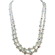 VINTAGE Double Strand of Aurora Borealis 60' Necklace Faceted and shining!