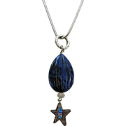 VINTAGE Lapis-lazuli  Lucky Charm Mo-Jo Necklace 16 Inch Heavy Sterling  Snake Chain