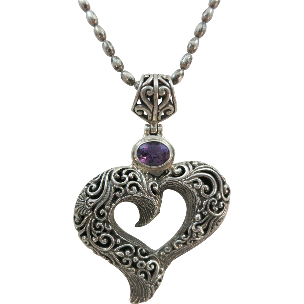 VINTAGE Large Sterling Heart Pendant with Lovely Heavy Chain