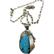 VINTAGE Extra Large Sleeping Beauty Turquoise Pendant on Large Interesting Sterling Chain
