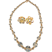 """VINTAGE  50""""S Faceted Crystal Necklace with Clip Earrings"""