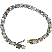VINTAGE Sterling with Gold Overlay Lovely Bracelets with Aquamarine Sets  7 1/4 Inches
