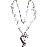 VINTAGE Kokopelli Sterling Necklace  5 Kokopelli Plaques Chain 24 Inches Long