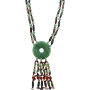VINTAGE Two Strands Gem Stone Necklace with Lovely Center Piece