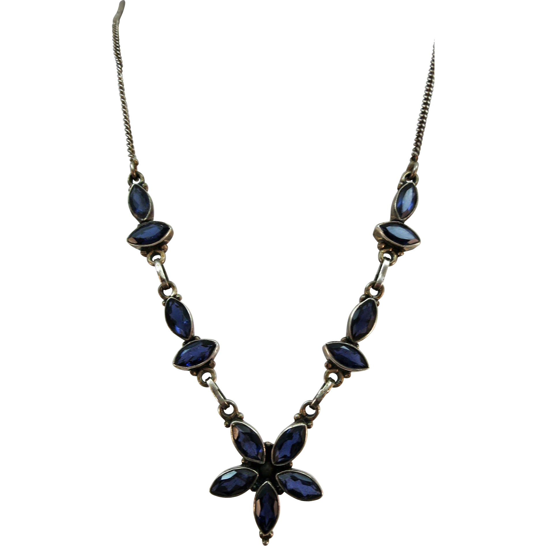VINTAGE Sterling 16 Inch Necklace with see through Blue Sapphires