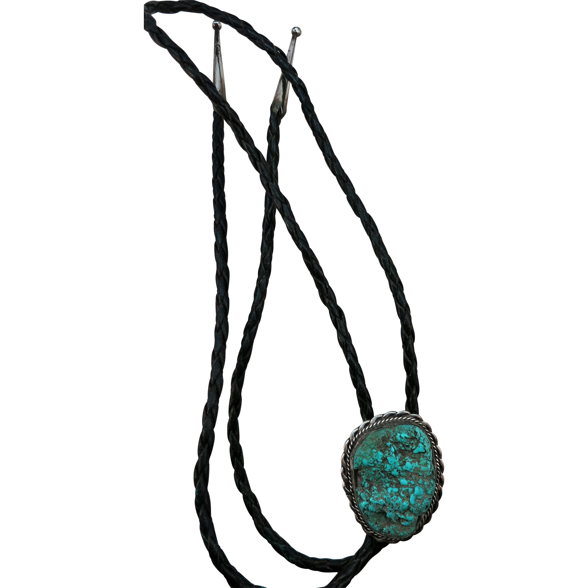 VINTAGE Sterling Bolo tie with Large Turquoise and Sterling Ends