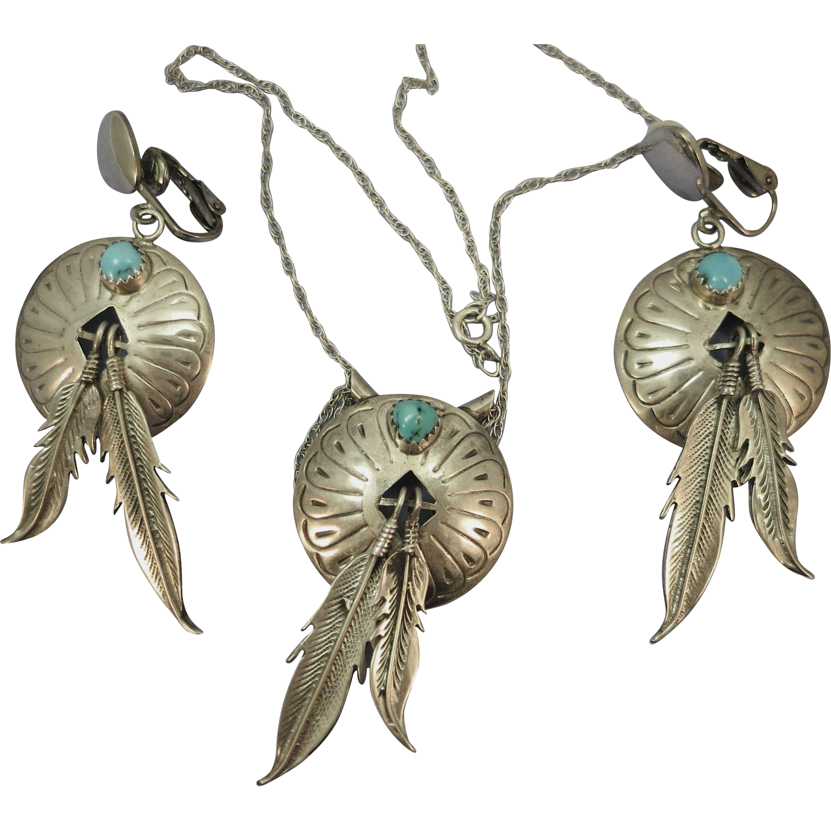 VINTAGE Three Piece Indian-made Necklace and Clip Earrings with Feathers