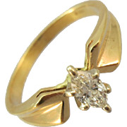 VINTAGE 80's Marquise Cut Diamond in 14K Yellow Gold Ring Size 6 3/4
