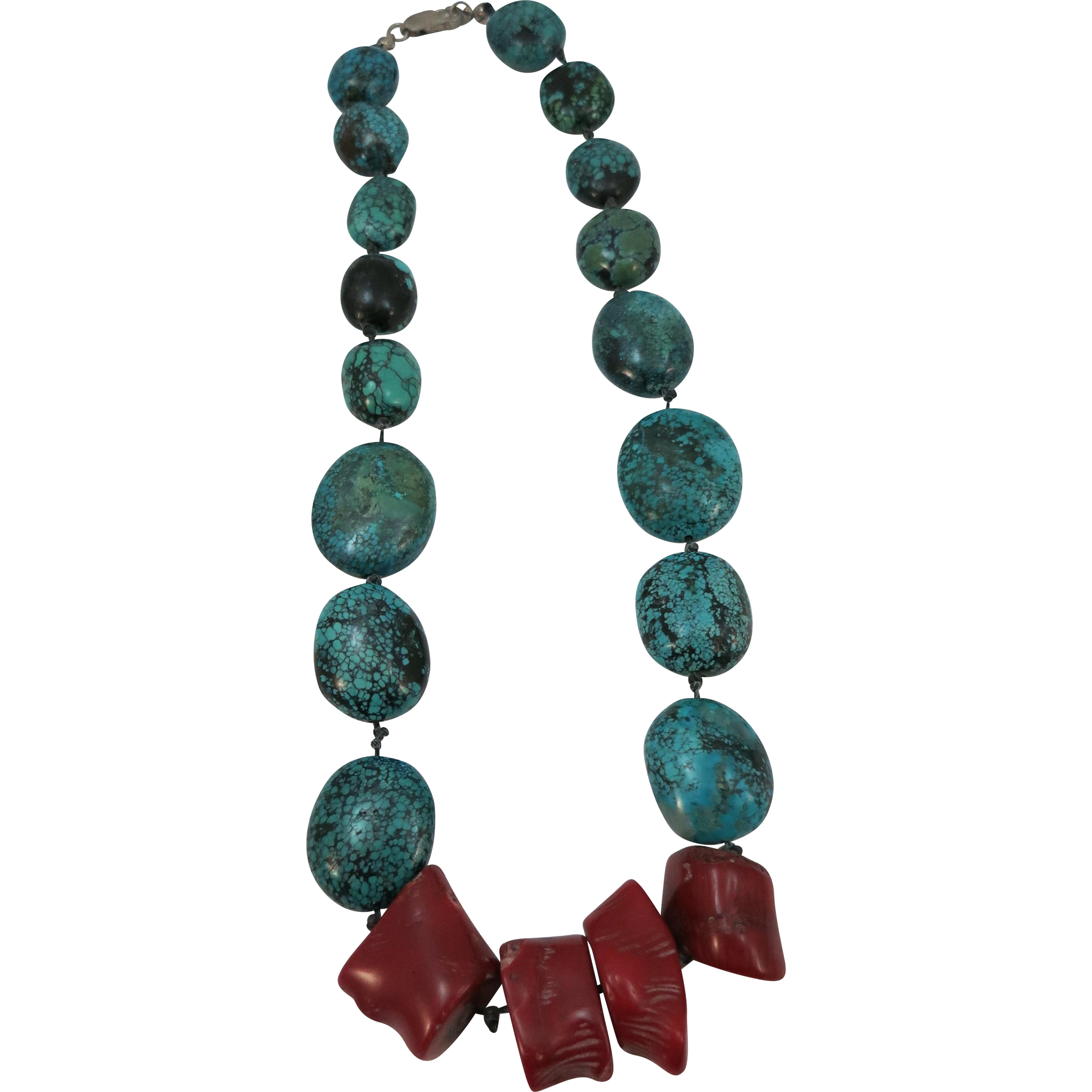 VINTAGE Turquoise and Coral Nugget Necklace from the 80's