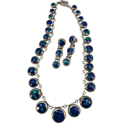 VINTAGE Mexican  Sterling Silver Necklace and Long Earrings all Azurite