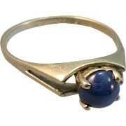 VINTAGE Blue Star Sapphire  Ring  in 10K White Gold  Size 6 1/4