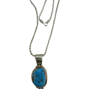 VINTAGE Turquoise Pendant with Twisted Sterling  16 Chain
