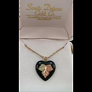 VINTAGE Black Hill Gold Leaf on Onyx Heart  Gold Filled Chain