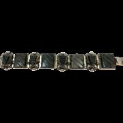 VINTAGE Mexican Silver Link Obsidian Bracelet